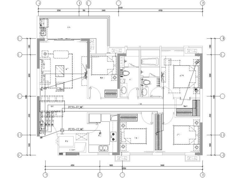 [一键下载]8套高层住宅楼电气施工图合集-甲级院_高层住宅及地下室电气图纸(2016)-广东省某高层住宅小区电气图纸[含公区精装]-精装弱电平面图