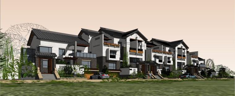 中式联排别墅建筑模型