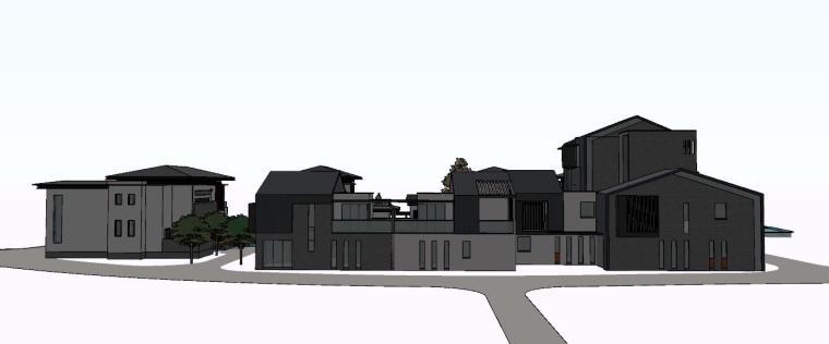 现代别墅建筑群建筑模型