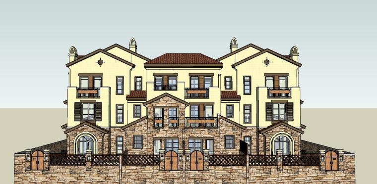 西班牙风格洋房别墅建筑模型