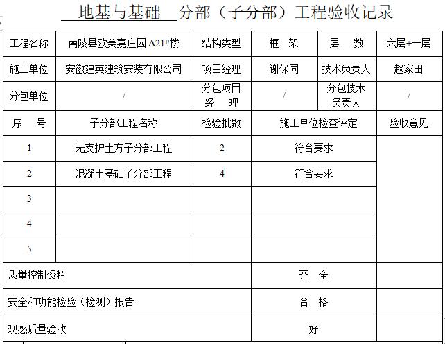 地基与基础分部子分部分项验收记录(9套)