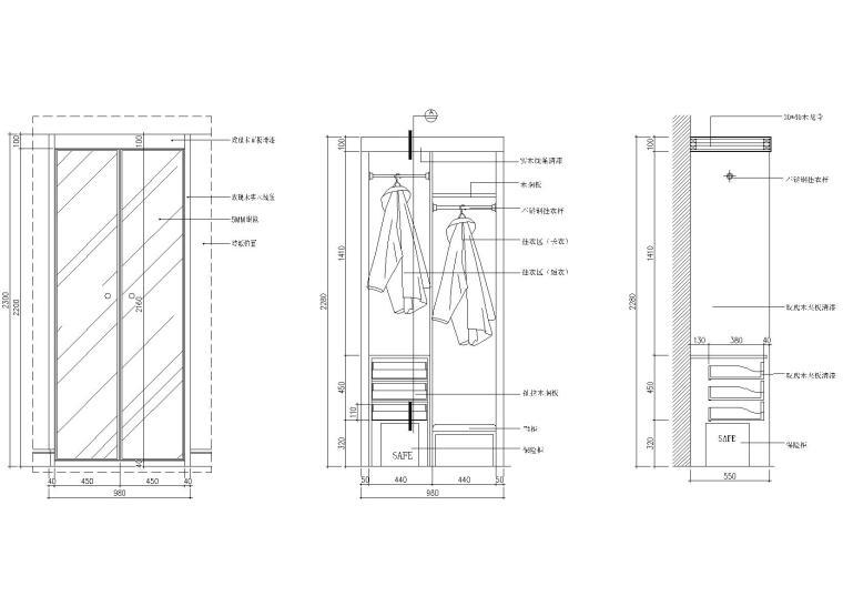 14款-柜子施工立面设计CAD图