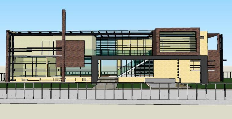 现代别墅大面积玻璃覆盖建筑模型