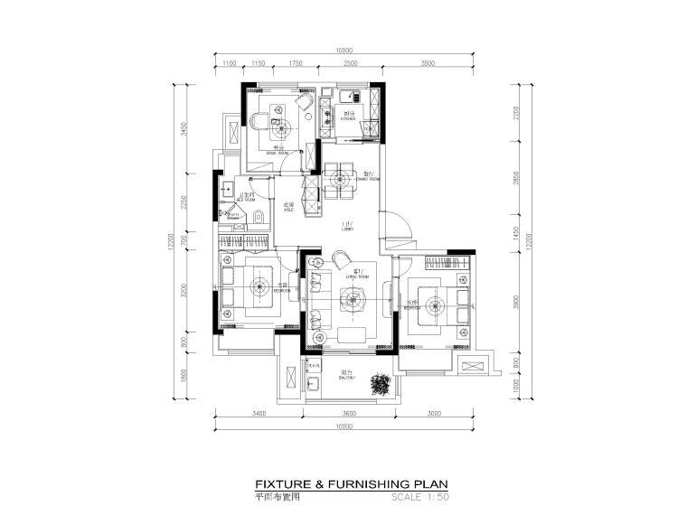 85平现代风格两居室样板间施工图_效果图