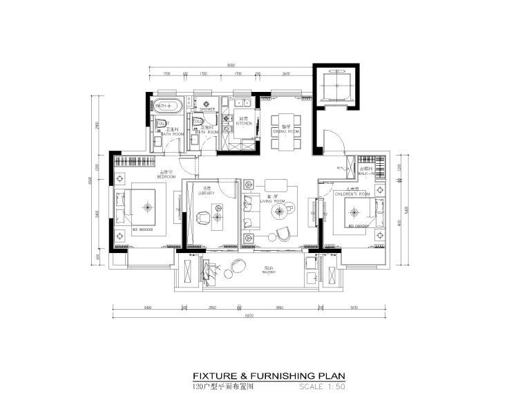120平现代风格两居室样板间施工图_效果图