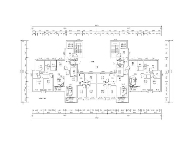 高层住宅标准层户型平面图(CAD)-住宅标准层户型平面图4