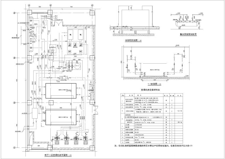 宣化中医院门诊楼水地源热泵机组房平面图