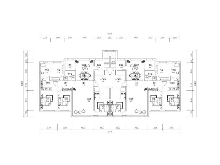 高层住宅标准层户型平面图(CAD)-住宅标准层户型平面图5