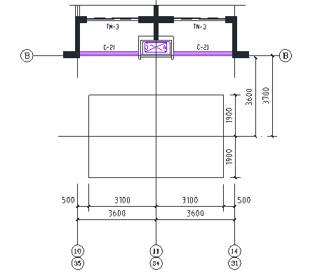 34 16#-1、16#-2单元施工升降机基础定位(标准层)
