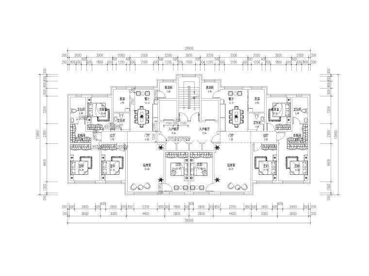 高层住宅标准层户型平面图(CAD)-住宅标准层户型平面图6