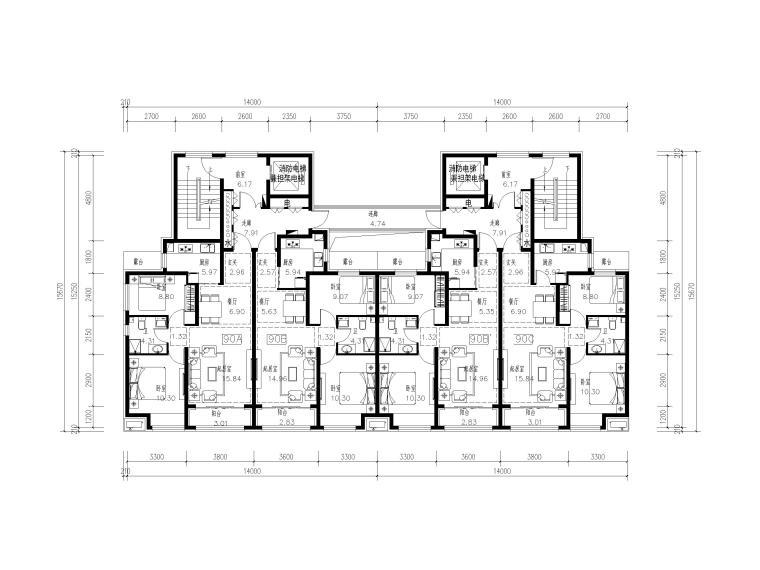 高层住宅标准层户型平面图(CAD)-住宅标准层户型平面图1