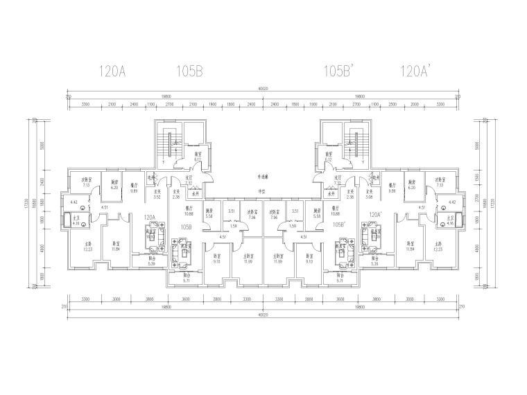 高层住宅标准层户型平面图(CAD)-住宅标准层户型平面图2