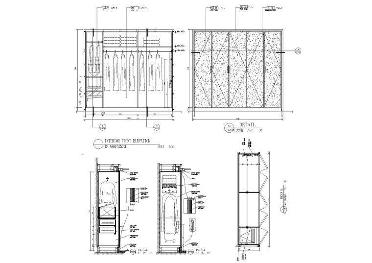 单项衣柜设计节点详图-6套