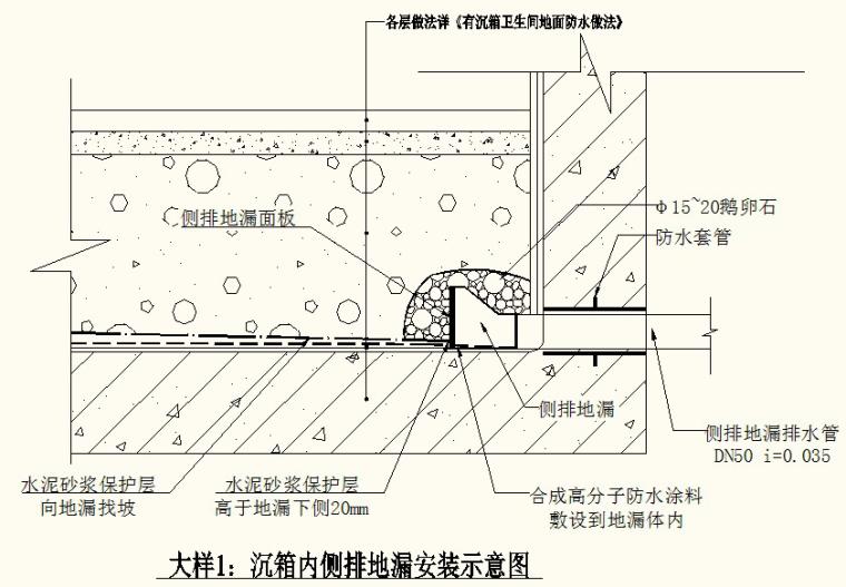 04沉箱内侧排地漏安装示意图