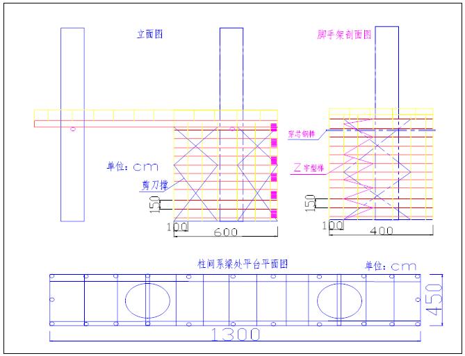 双向四车道高速公路实施性施工组织设计-系梁模板及支架安装示意图