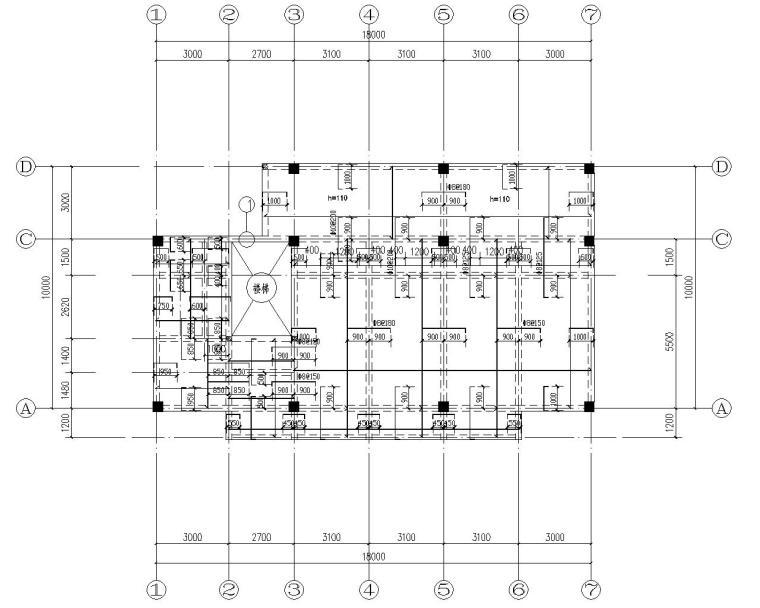 三层小型办公楼混凝土结构施工图(CAD)