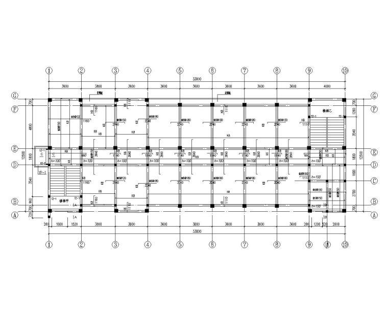 某五层混凝土框架结构办公楼施工图(CAD)