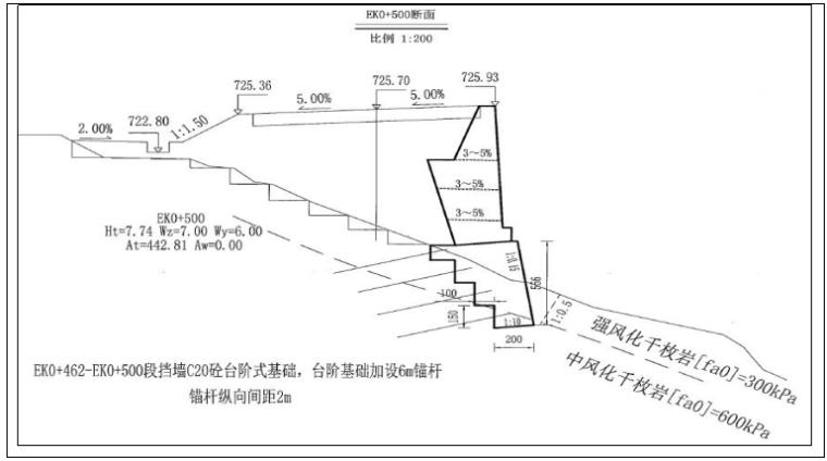 双向四车道高速公路实施性施工组织设计-路肩墙设计图