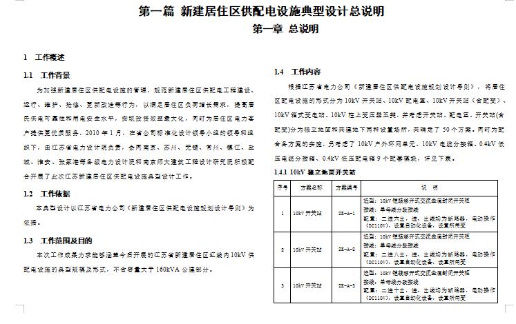 江苏省新建居住区供配电设施典型设计方案