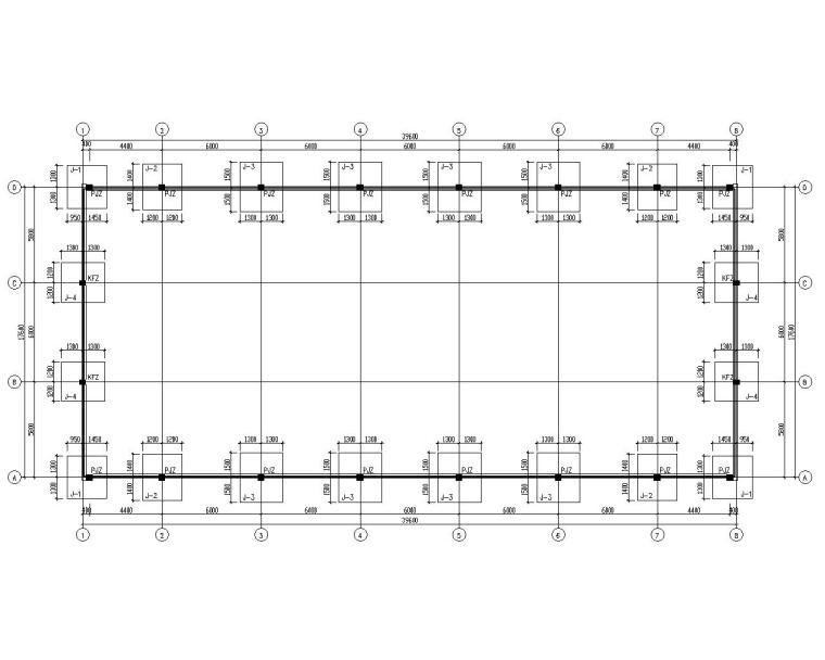 单层工业厂房车间结构施工图(CAD)-基础布置图