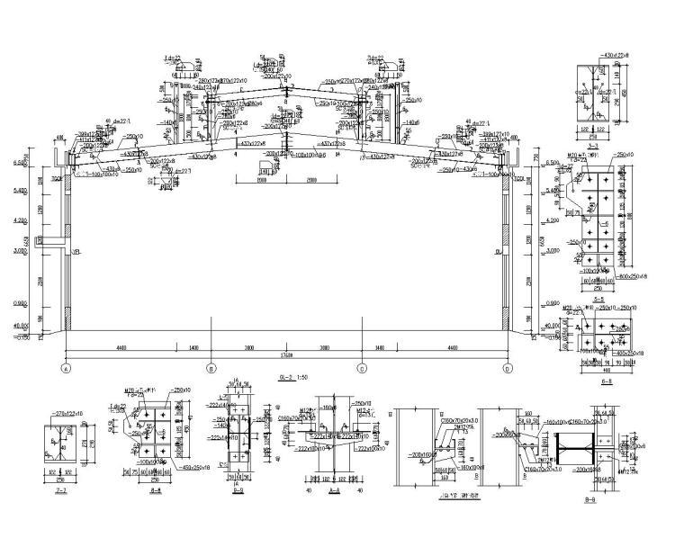 单层工业厂房车间结构施工图(CAD)-结构剖面图2