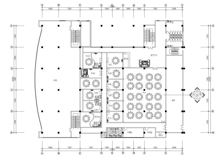 天津酒店二层1000㎡餐厅宴会厅装饰施工图