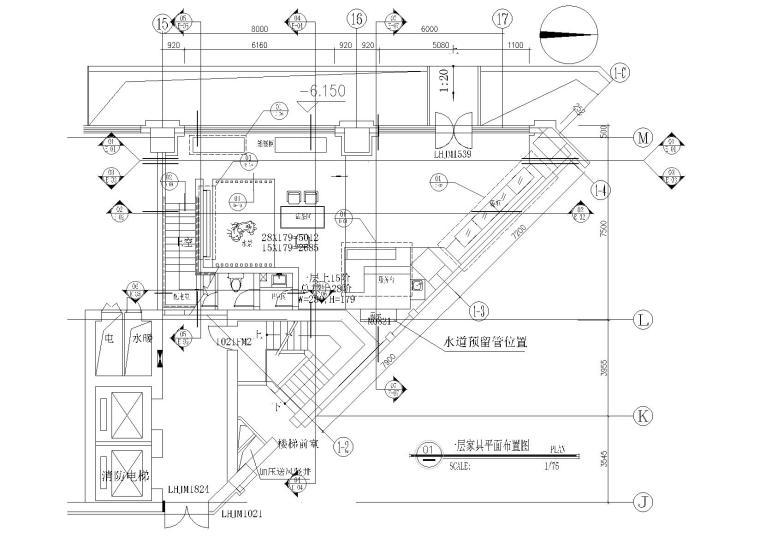 北京现代二层60㎡茶馆室内装饰设计施工图