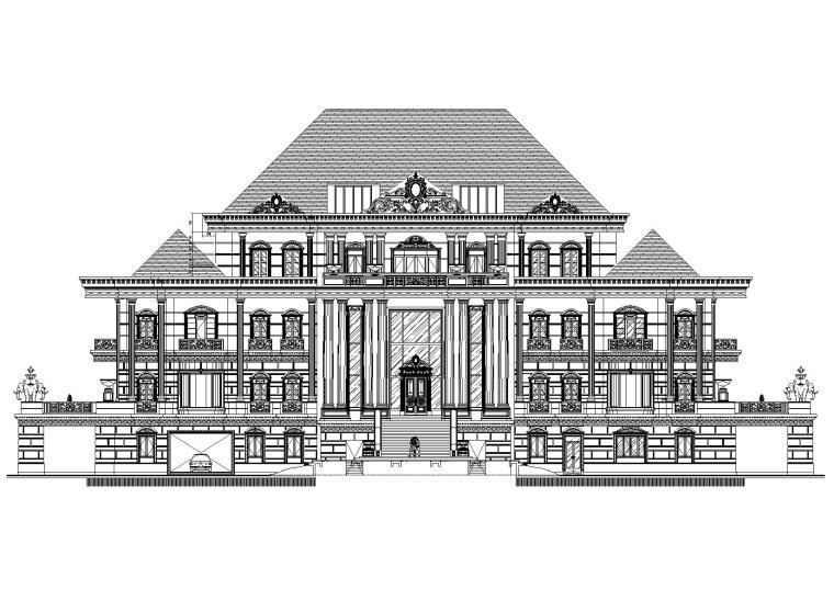 法国五层欧式独栋会所建筑施工图+实景图