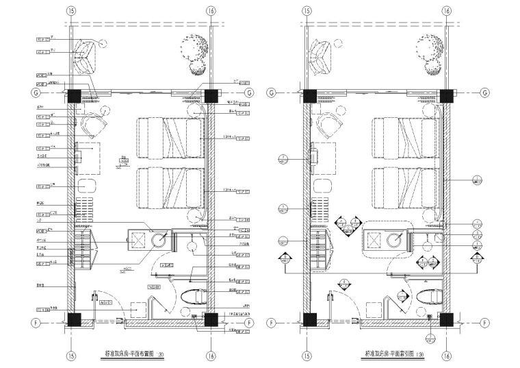 [无锡]景区民宿客栈40㎡双床房样板间施工图