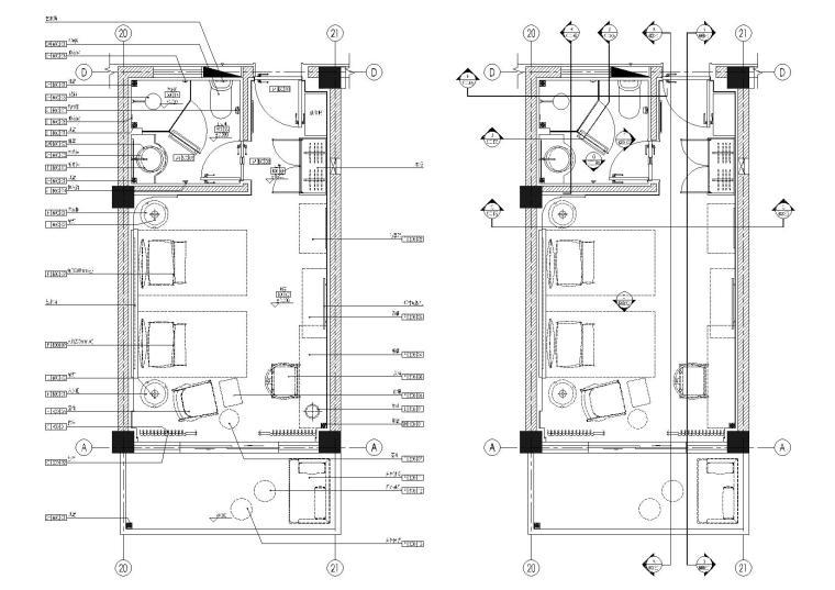 [无锡]景区民宿客栈34㎡双床房样板间施工图