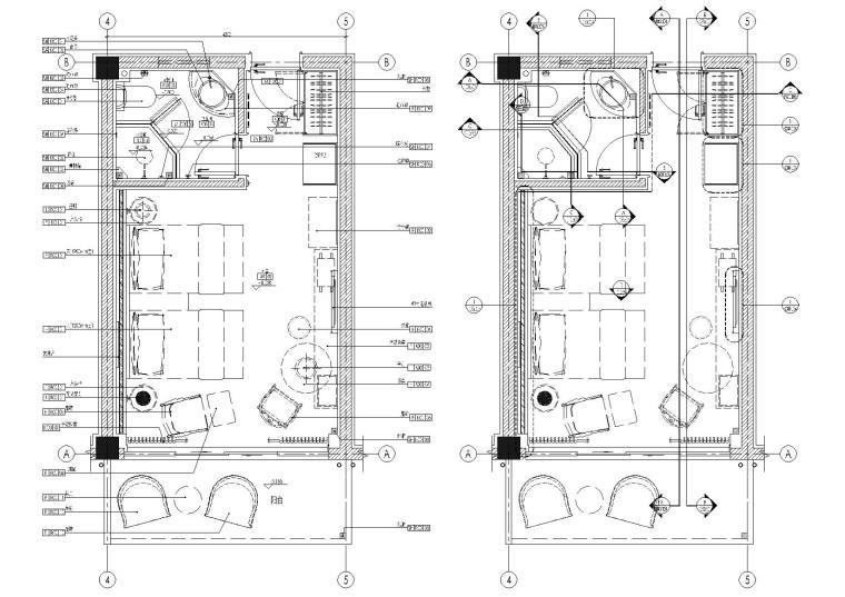 [无锡]景区民宿客栈37㎡双床房样板间施工图