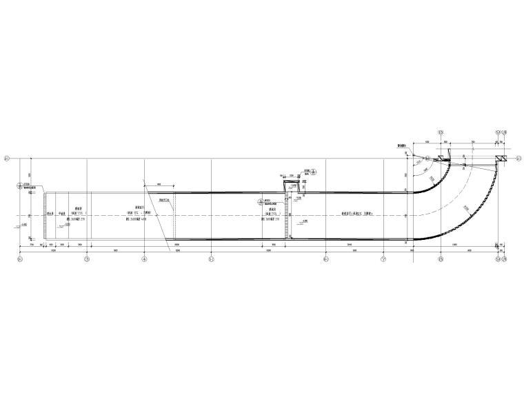 地下车库汽车坡道详图(CAD)-汽车坡道二地下平面