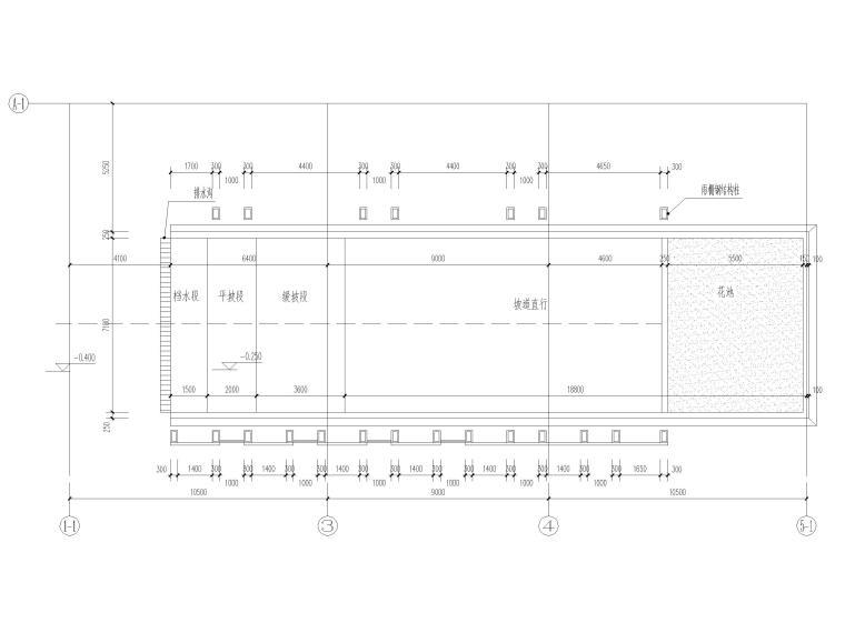 地下车库汽车坡道详图(CAD)-汽车坡道一地上平面