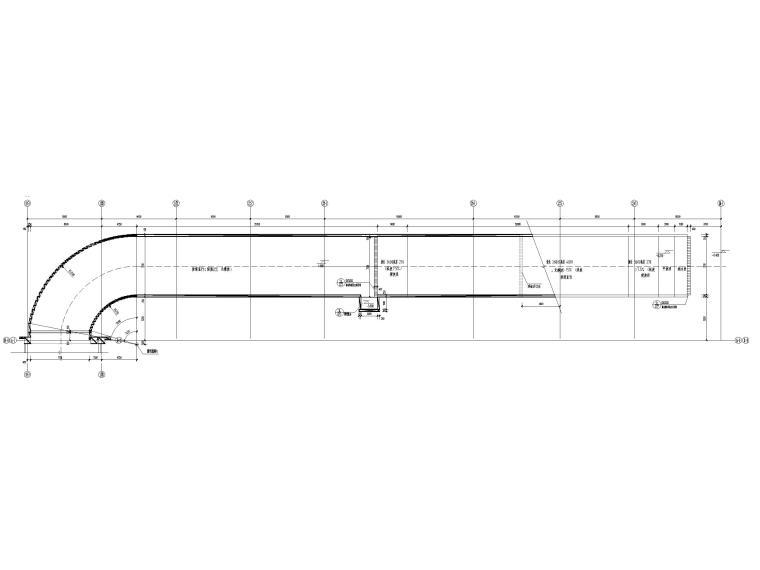 地下车库汽车坡道详图(CAD)-汽车坡道一地下平面