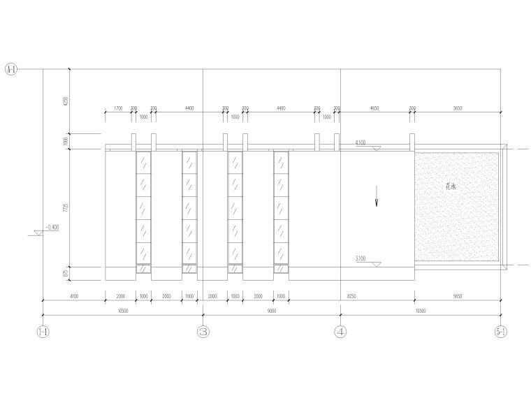 地下车库汽车坡道详图(CAD)-汽车坡道一雨棚平面