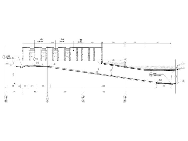 地下车库汽车坡道详图(CAD)-汽车坡道一中心线展开剖面