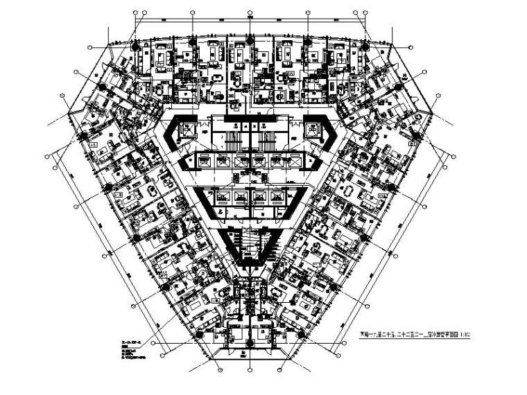西塔十九至二十层,二十二至二十三层冷媒管平面图
