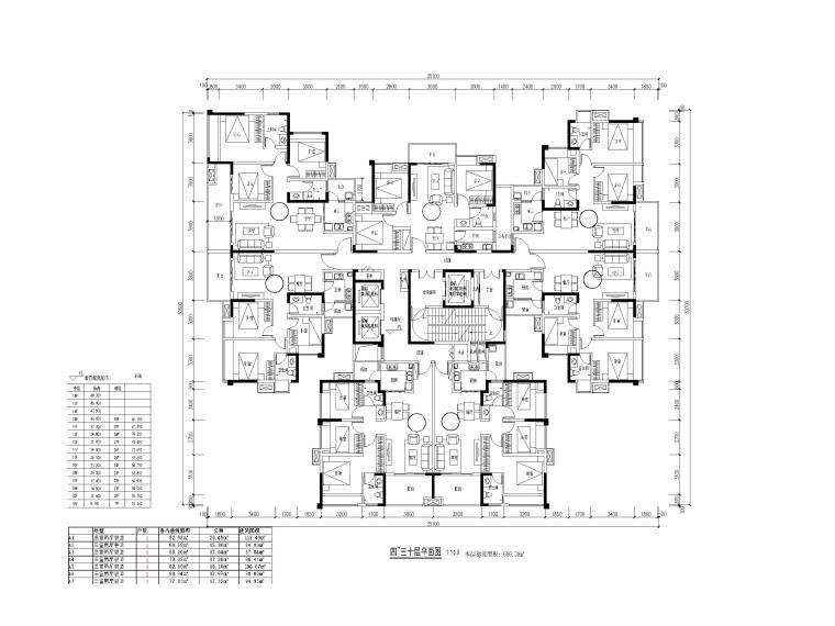 高层住宅3梯7户全三房刚需户型设计(2020)
