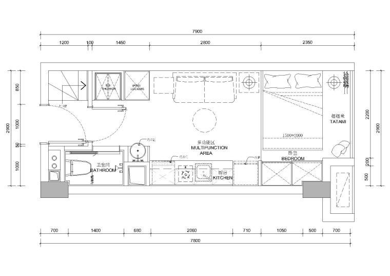 [贵州]30㎡二层日式loft公寓样板间施工图