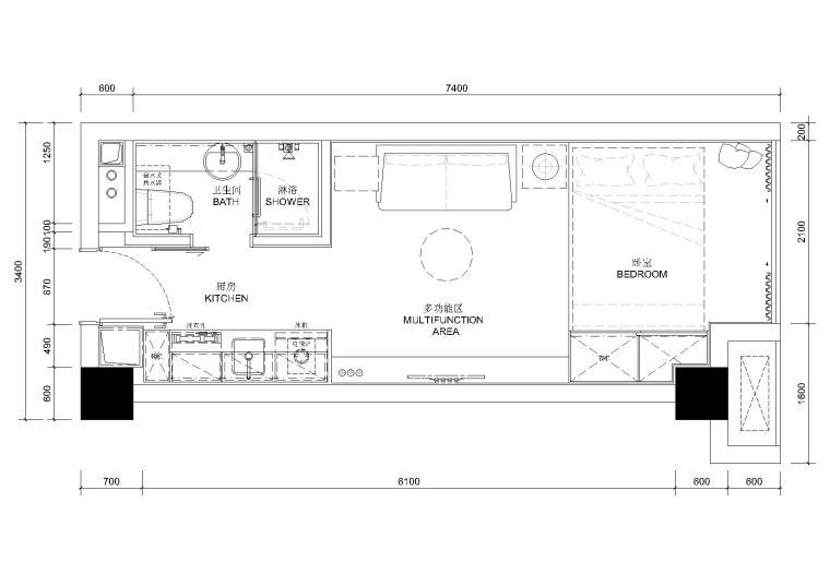 [贵州]13㎡单人商务平层公寓样板间施工图