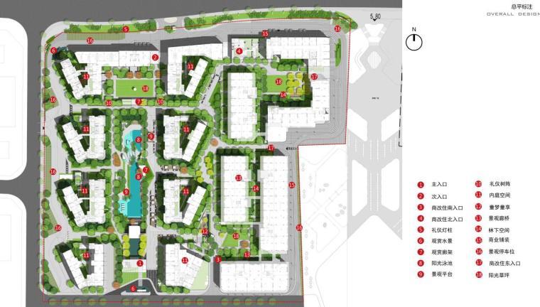 [海南]现代都市气息大都会景观方案文本-总平标注