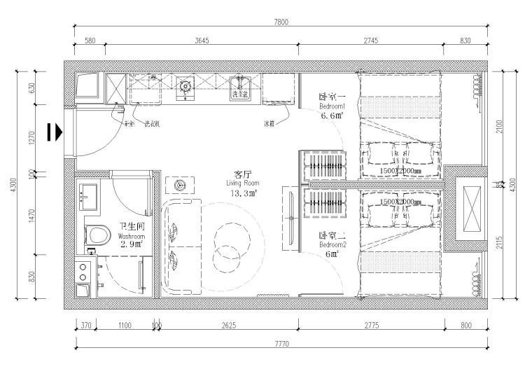 [贵州]30㎡两户平层公寓样板间设计施工图