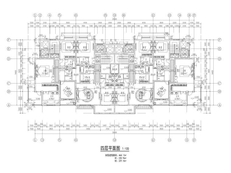90套联排独栋别墅平面户型设计(CAD)