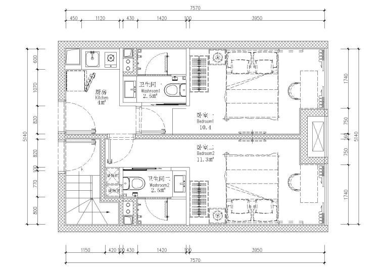 [贵州]53㎡二层四户loft公寓样板间施工图