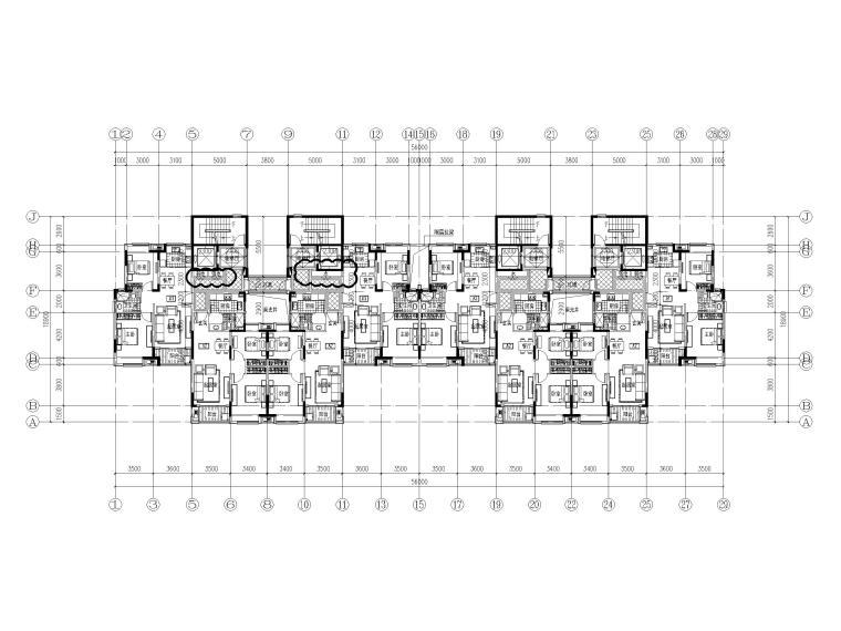 82套高层(16层-33层)二室户型设计图CAD