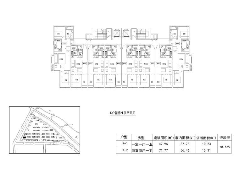 19套高层住宅公寓一室户户型图设计CAD