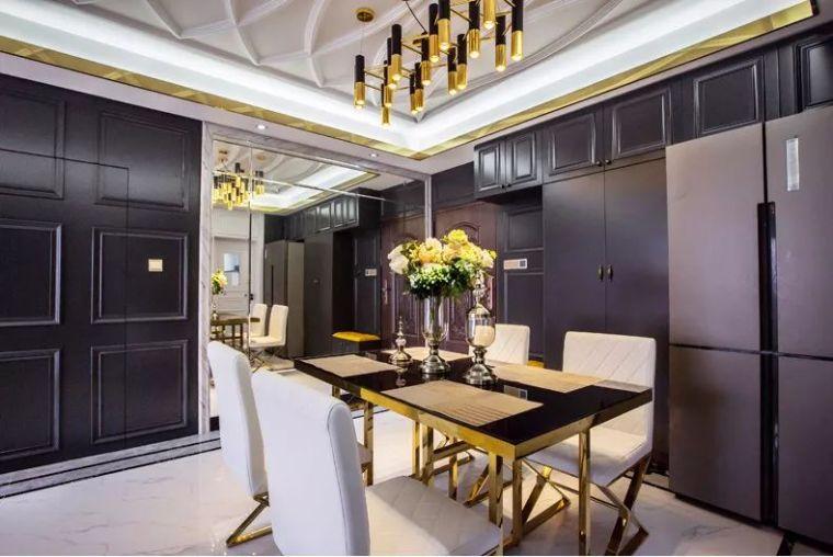 106平现代轻奢风二居室,摩登时尚的客餐厅
