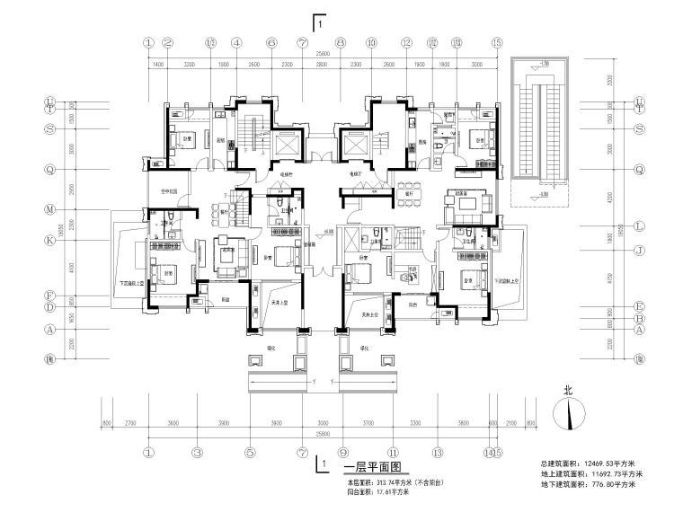 高层住宅三室户型图设计2