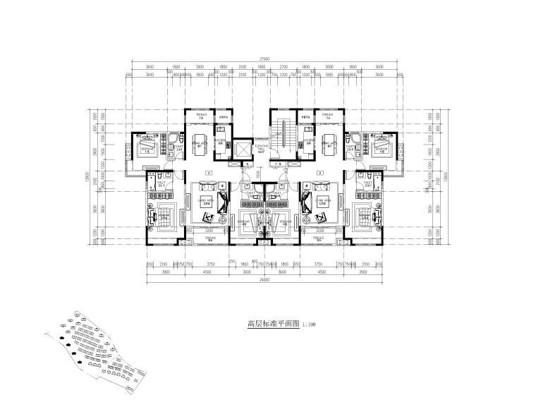 高层住宅三室户型图设计3