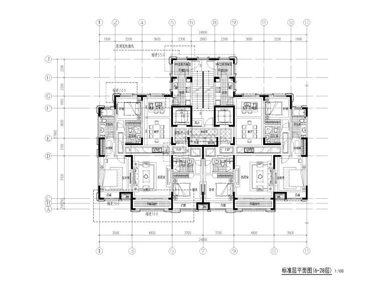 高层住宅三室户型图设计4